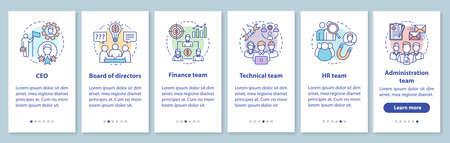 Company staff onboarding mobile app page screen with linear concepts. CEO, board of directors walkthrough steps graphic instructions. Corporate team. UX, UI, GUI vector template with illustrations Illustration