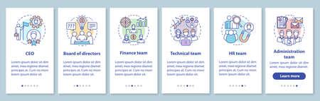 Le personnel de l'entreprise intègre l'écran de la page de l'application mobile avec des concepts linéaires. PDG, conseil d'administration étapes pas à pas instructions graphiques. Équipe d'entreprise. Modèle vectoriel UX, UI, GUI avec illustrations Vecteurs