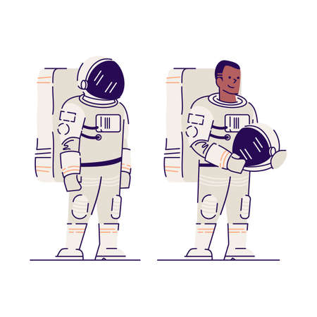 Male astronaut with helmet flat vector illustration. Smiling afro american cosmonaut, space explorer holding helmet isolated cartoon character on white background. Space mission, universe exploration Illustration