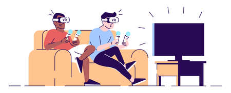 Friends in VR headsets flat vector illustration. Male gamers in virtual reality glasses on sofa with joysticks, sitting on sofa isolated cartoon characters with outline elements on white background Иллюстрация