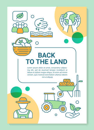 Back to the land poster template layout. Agricultural sector. Organic farming.Banner, booklet, leaflet print design with linear icons. Vector brochure page layouts for magazines, advertising flyers Illustration