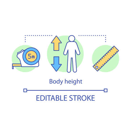 Body height measurement concept icon. Monitoring body growth with measuring tools idea thin line illustration. Flexible ruler for human height check. Vector isolated outline drawing. Editable stroke