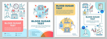Blood sugar test brochure template layout. Glucose level control. Flyer, booklet, leaflet print design, linear illustrations. Glucometer. Vector page layouts for annual reports, advertising posters Stock Illustratie