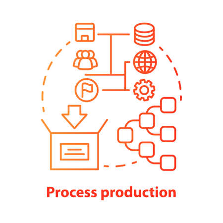 Process production red concept icon. Manufacturing operations management idea thin line illustration. Job production steps. Machinery and manpower. Vector isolated outline drawing. Editable stroke