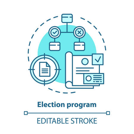 Elections concept icon. Election program idea thin line illustration. Voting, referendum, public opinion and choice. Presenting new ideas. Vector isolated outline drawing. Editable stroke Stock Illustratie