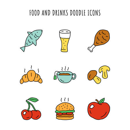 Food and drinks doodle color icons set. Burger, chicken leg and beer. Delicious eating and beverages hand drawn isolated vector illustrations. Fish, cherry and apple. Croissant, hot tea and mushrooms