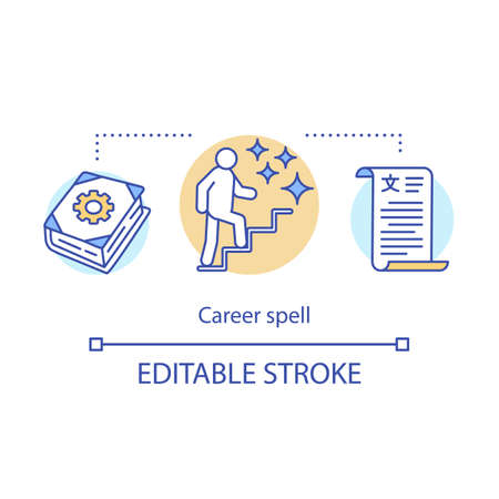 Career spell concept icon. Witchcraft and sorcery idea thin line illustration. Business success. Magic spellbook, person on ladder and contract vector isolated outline drawing. Editable stroke