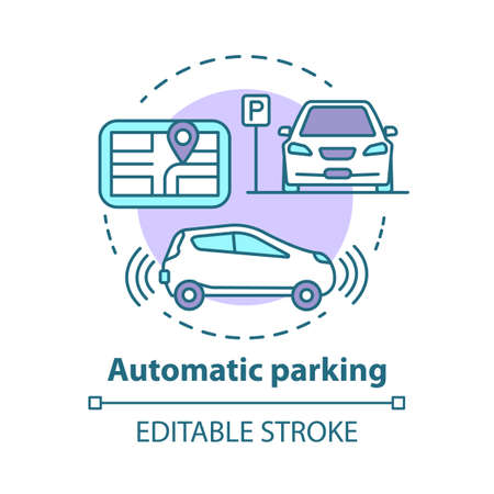 Automatic parking concept icon. Driverless car navigation. Smart car-maneuvering system. Self-driving feature idea thin line illustration. Vector isolated outline drawing. Editable stroke