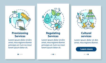 Servicios del ecosistema incorporando la pantalla de la página de la aplicación móvil con conceptos lineales. Aprovisionamiento, regulación de servicios paso a paso instrucciones gráficas. UX, UI, plantilla de vector de GUI con ilustraciones