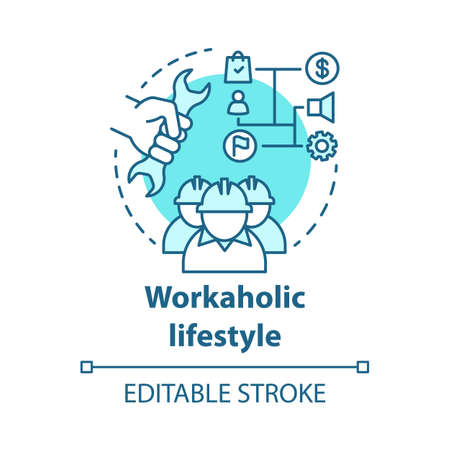 Workaholic lifestyle blue concept icon. Ergomaniac idea thin line illustration. Work addiction, obsessive disorder. Working overtime, behind schedule vector isolated outline drawing. Editable stroke Illustration