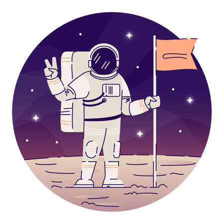 Cosmonaut placing flag on moon flat concept icon. Astronaut in space suit showing peace sign sticker, clipart. Alien planet landing, space exploration isolated cartoon illustration on white background Illusztráció