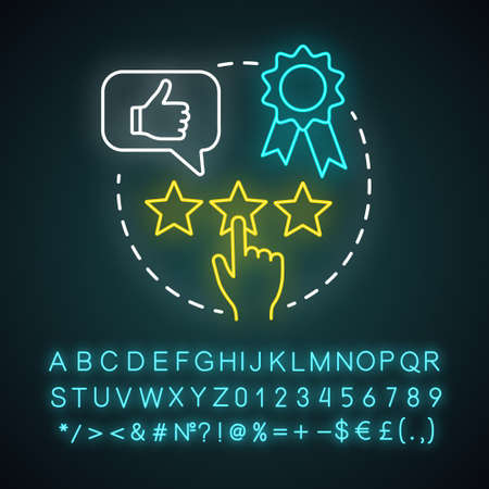 Appreciation events neon light concept icon. Customer experience idea. Feedback collecting. Clients reviews. Service awards, rating. Glowing alphabet, numbers and symbols. Vector isolated illustration
