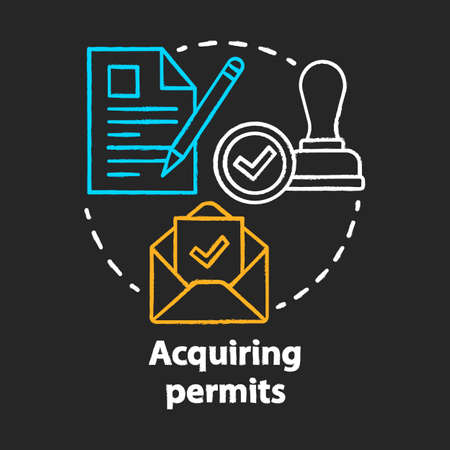Acquiring permits chalk concept icon. Obtaining license idea. Getting approval. Legal documents and permissions. Formal application. Vector isolated chalkboard illustration Illusztráció