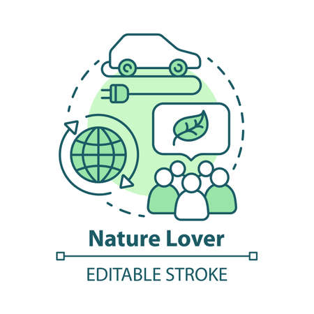 Nature lover concept icon. Naturalist idea thin line illustration. Environmentalist. Ecology protection, environment preservation. Eco car. Vector isolated outline drawing. Editable stroke Ilustração Vetorial