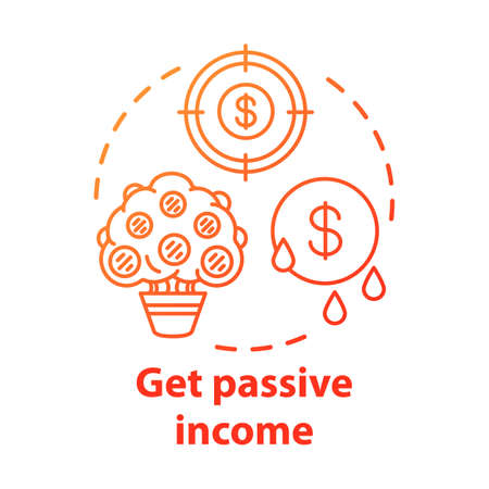 Get passive income concept icon. Savings idea thin line illustration. Getting interest, percentage from investment, deposit. Gaining residual profits. Vector isolated outline drawing