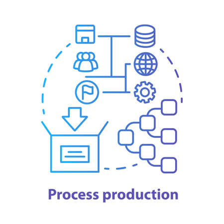 Process production blue concept icon. Manufacturing operations management idea thin line illustration. Job production steps. Machinery and manpower. Vector isolated outline drawing. Editable stroke