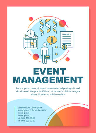 Event management poster template layout. Seminar, business meeting planning. Banner, booklet, leaflet print design with linear icons. Vector brochure page layouts for magazines, advertising flyers