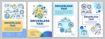 Driverless taxi brochure template layout. Robo-cab advantages. Flyer, booklet, leaflet print design with linear illustrations. Vector page layouts for magazines, annual reports, advertising posters