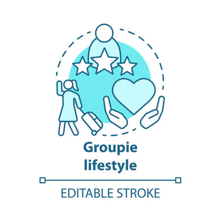 Groupie lifestyle blue concept icon. Seeking personal gain following celebrity idea thin line illustration. Obsessive attachment to musician. Vector isolated outline drawing. Editable stroke