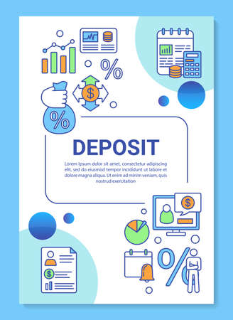 Deposit and investment poster template layout. Calculating interest, percentage. Banner, booklet, leaflet print design with linear icons. Vector brochure page layouts for magazines, advertising flyers