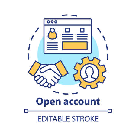 Open bank account concept icon. Savings idea thin line illustration. Striking deal, signing agreement with banking company. Starting partnership. Vector isolated outline drawing. Editable stroke Stock Illustratie