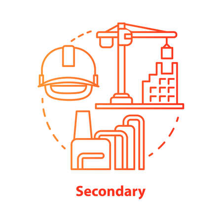 Secondary red concept icon. Processing and manufacturing industry idea thin line illustration. Economy sector. Heavy and light industry. Vector isolated outline drawing. Editable stroke Çizim