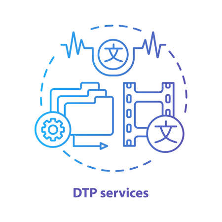 DTP services blue concept icon. Desktop publishing services idea thin line illustration. Copy editing, content translation and text formatting. Vector isolated outline drawing. Editable stroke Banque d'images - 129621327