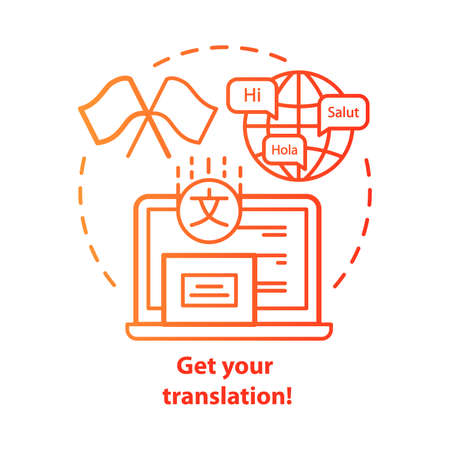 Get your translation red concept icon. Online multilingual translator idea thin line illustration. Interpretation and spell check. Foreign language. Vector isolated outline drawing. Editable stroke