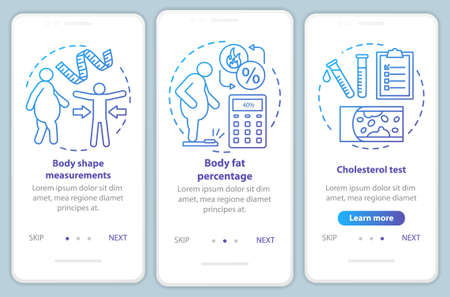 Body health onboarding mobile app page screen vector template. Cholesterol test. Body shape measurements. Walkthrough website steps with linear illustrations. UX, UI, GUI smartphone interface concept