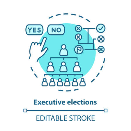 Election concept icon. Executive elections idea thin line illustration. Authority hierarchy. Public decision. Choosing new federal government. Vector isolated outline drawing. Editable stroke Ilustração