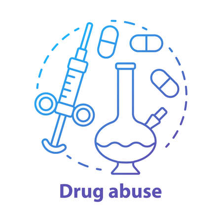 Drug abuse concept icon. Narcotic, opioid addiction idea thin line illustration. Bong, syringe and pills. Cocaine, heroin and marijuana. Substance abuse. Vector isolated drawing Иллюстрация