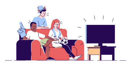 Friends watching game on TV flat vector illustration. Sport fans, team supporters wearing fans hat, scarf eating snacks isolated cartoon characters with outline elements on white background