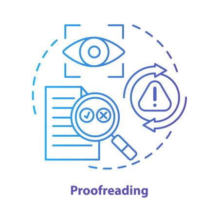 Proofreading blue concept icon. Text editing, correction process idea thin line illustration. Checking grammar, punctuation. Copyediting written work. Vector isolated outline drawing. Editable stroke