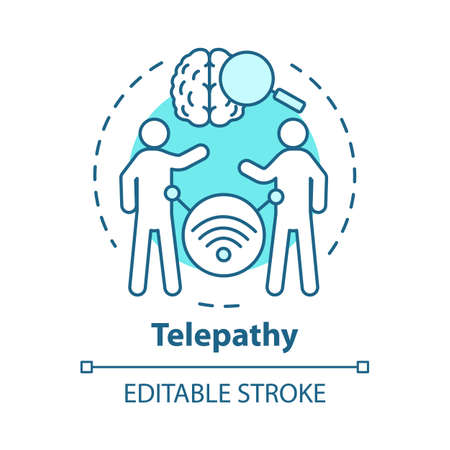 Telepathy concept icon. Mind reading, thought transference idea thin line illustration. Psychic powers. Brain with magnifying glass and people vector isolated outline drawing. Editable stroke
