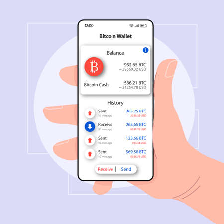 Bitcoin balance wallet smartphone interface vector template. Mobile app page white design layout. Sent and received money screen. Flat UI for application. Hand holding phone with user cash on display