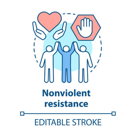 Nonviolent resistance concept icon. Peaceful social protest, public rally, pacifism idea thin line illustration. Protesters, activists holding hands vector isolated outline drawing. Editable stroke