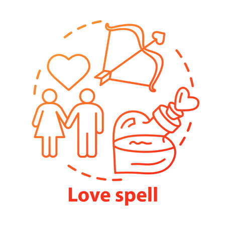 Love spell concept icon. Witchcraft and alchemy idea thin line illustration. Philtre, affection elixir. Cupid bow, couple in love and magic potion vector isolated outline drawing. Wizardry service 일러스트