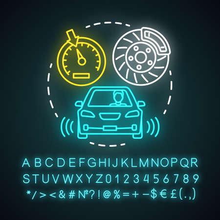Partial automation neon light concept icon. Vehicle with cruise control, parking sensors. Electronic car systems idea. Glowing sign with alphabet, numbers and symbols. Vector isolated illustration