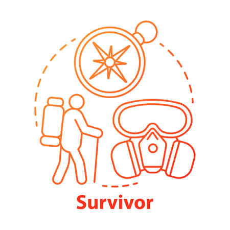 Survivor red concept icon. Remaining alive idea thin line illustration. Hiking camp. Travelling in extreme conditions. Adventurous trekking, traveler. Vector isolated outline drawing. Editable stroke