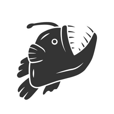 Anglerfish glyph icon. Swimming goosefish. Underwater world. Ocean monster, undersea animal with open mouth. Marine predator. Silhouette symbol. Negative space. Vector isolated illustration Illustration