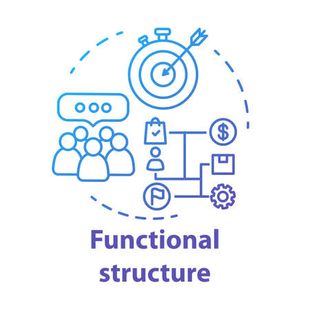 Functional corporate structure concept icon. Business strategy idea thin line illustration. Management and workflow organization. Marketing campaign. Vector isolated outline drawing