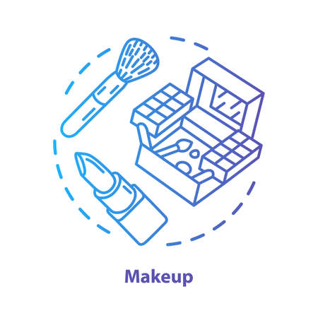 Makeup blue concept icon. Make up artist kit, equipment idea thin line illustration. Eye shadows, lipstick blue gradient vector isolated outline drawing. Cosmetics, beauty products. Editable stroke