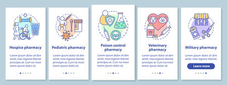 Pharmacy branchase onboarding mobile app page screen with linear concepts. Hospice and pediatric medication. Five walkthrough steps graphic instructions. UX, UI, GUI vector template with illustrations