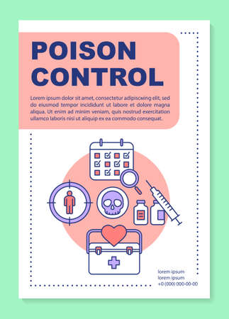 Poison control poster template layout. Scheduled control group analysis. Banner, booklet, leaflet print design with linear icons. Vector brochure page layouts for magazines, advertising flyers