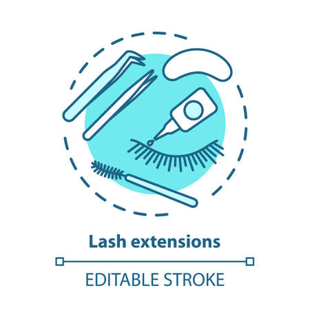 Lash extension blue concept icon. False eyelashes, permanent makeup idea thin line illustration. Cosmetology salon, beauty parlor procedure. Vector isolated outline drawing. Editable stroke 일러스트