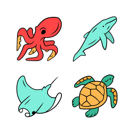 Underwater world color icons set. Swimming octopus, squid, turtle, whale. Ocean animals, undersea wildlife. Zoology and marine fauna. Aquatic creatures. Water organism. Isolated vector illustrations