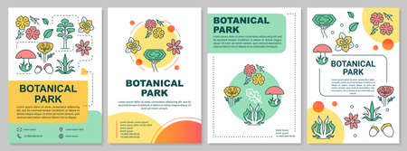 Botanical park brochure template layout. Natural foliage. Flyer, booklet, leaflet print design with linear illustrations. Vector page layouts for magazines, annual reports, advertising posters 일러스트