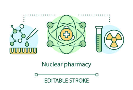 Pharmacy concept icon. Nuclear power medication idea thin line illustration. Radioactive element research. Chemotherapy and radioactive drugs. Vector isolated outline drawing. Editable stroke