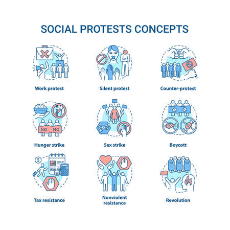 Social protests concept icons set. Public demonstrations, civil disobedience idea thin line illustrations. Political resistance, strikes and boycotts vector isolated outline drawings. Editable stroke Иллюстрация