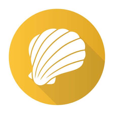 Sea shelll yellow flat design long shadow glyph icon. Marine mollusk shell. Protective layer for animal living. Tropical souvenir. Aquarium creature. Underwater fauna. Vector silhouette illustration Banco de Imagens - 129877816